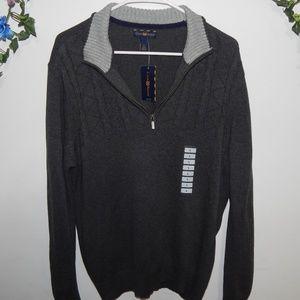 Thick Dark Gray Quarterzip Sweater